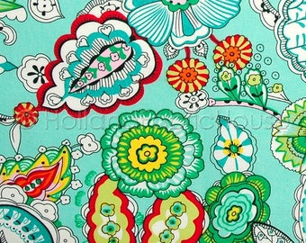Cotton floral fabric, Dutch fabric, cotton fabric, floral fabric, turquoise fabric, Freshly Picked Flowers in Turquoise