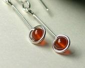 4mm Carnelian Sterling Drop Earrings, Long Minimal Sterling Dangle Earrings, Minimalist,  Modern / gift under 50