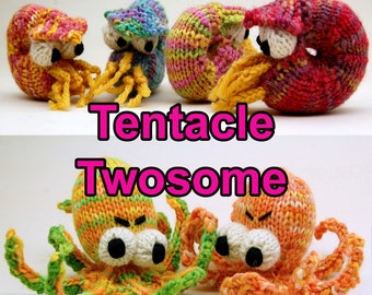 Tentacle Twosome Amigurumi Pattern Pack with Obstinate Octopus & Knitilus Nautilus Digital Download