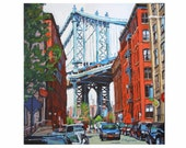 "Manhattan Bridge Dumbo New York Painting, Brooklyn Print 8""x8"" Cityscape Painting by Gwen Meyerson"