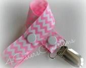 Pacifier Clip Holder Custom Print Geranium Pink with White Chevron