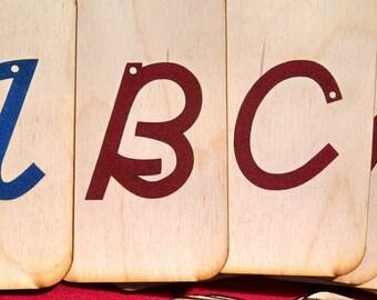 "Uppercase Cursive Sandpaper Letters on 3""x5"" Birch Wood"
