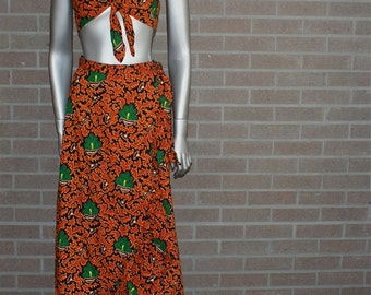 Vintage 60's 70's Hippie Bohemian Two Piece Summer Skirt and Top Set ARJON of California