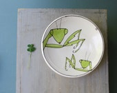 Ceramic praying mantis bowl, insect dish, wedding gift for bride and groom