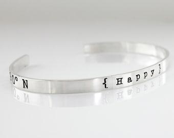 Geographic Coordinates Cuff Bracelet - My Happy Place Personalized Geographic Coordinates Cuff Bracelet