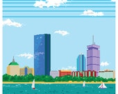 8-bit Boston Skyline Pixel Art Print