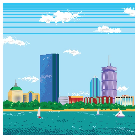 8-bit Boston Skyline Pixel Art Print By TheDailyRobot On Etsy