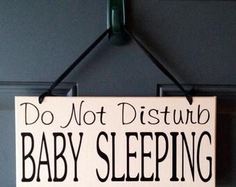 Do Not Disturb Baby Sleeping wood sign - door hanger