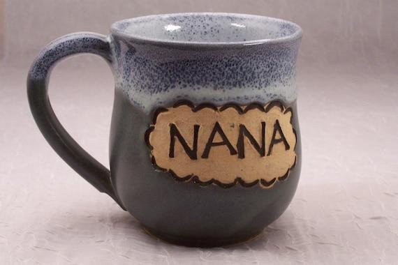 Nana Mug Ceramic Coffee Cup Earthy Blue Green Handmade Wheel