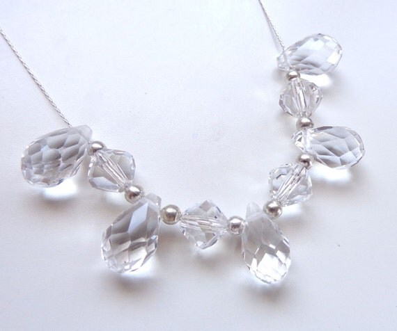 Bridal Jewelry - Crystal Clear Floating Teardrops Necklace - Wedding Jewelry