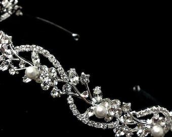 Vines Bridal Tiara, Wedding Wreath, Floral Crown, Bridal Halo, Swarovski Bridal Headband, Crystal Headpiece, Pearl Hair Jewelry, ADORNA