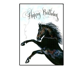 Handmade Happy Birthday Black Horse card