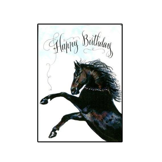 Birthday Horse Card Black Horse Birthday Card Rearing Black