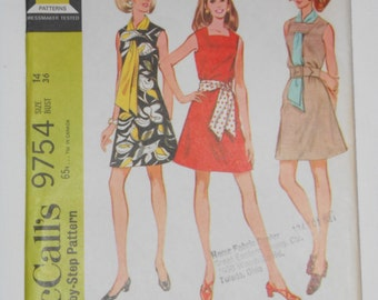 Vintage 60s Dress and Scarf or Sash Pattern McCalls 9754 Size 14 Bust 36 UNCUT