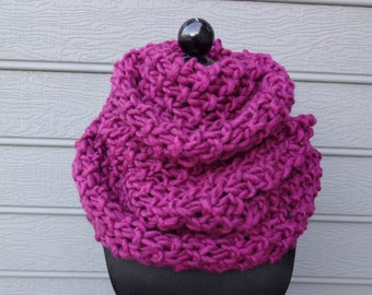 Fuchsia Pink Chunky Knit Cowl - Shoulder Wrap - Figure 8 Scarf - Infinity Scarf - Hand Knit - Wool