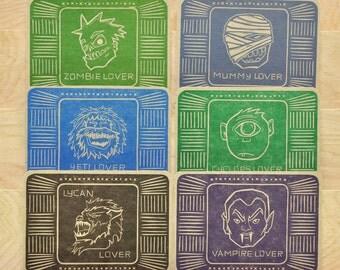 Monster Lover Series Letterpress Postcard 6 Pack