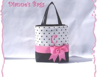 Black  Polka Dotted  Monogrammed/Personalized Tote, Purse, Bridesmaid Gift