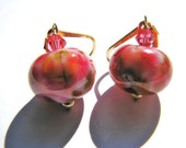 Rose Lampwork Earrings, Artisan Glass Earrings, Swarovski Crystals, 14k Gold Filled Earrings, Gift For Her, READY To Ship