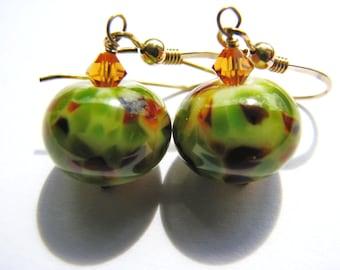 Safari Lampwork Earrings, Green Brown Animal Pattern Artisan Glass, Swarovski Crystals, 14k Gold Filled Earrings, Gift on SALE Ready To Ship