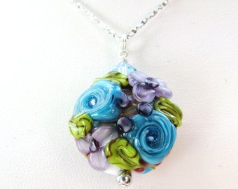 SALE, Purple Lampwork Flower Pendant Necklace, Raised Flower Glass Bead, Fancy Textured Sterling Silver Chain Necklace, Floral Gift For Mom