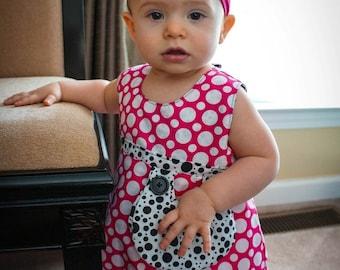 Reversible 100% cotton Polka dot dress sizes 1-4years