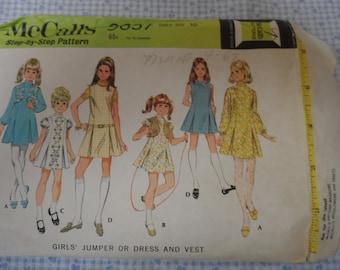 Vintage McCalls 9657 Girl's Dress or Jumper and Vest Pattern Size 10