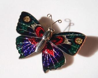 Vintage Metal Butterfly Pin brooch Green pink silver purple
