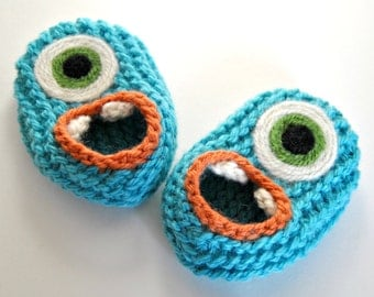 Wool Baby Monster Slippers - Teal, Wool Baby Slippers, Crib Shoes, Booties