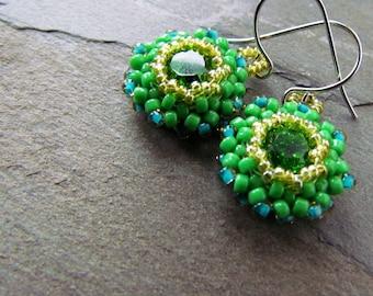 SHAMROCK-Fern Swarovski Crystal and Grass GreenSeed Bead Chandelier Earrings