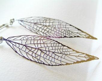 Silver Feather Leaf Earrings