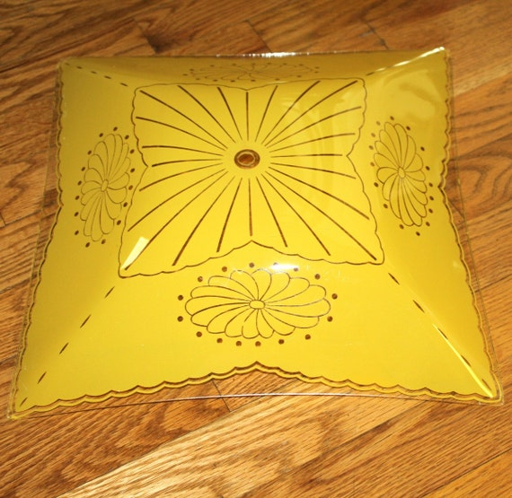 Vintage Glass Yellow Ceiling Light Shade Square By