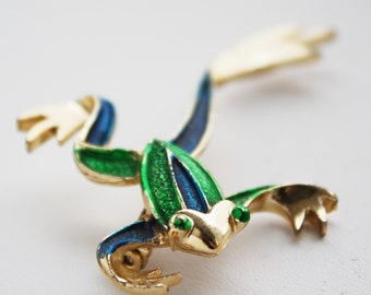 Vintage Frog Pin Blue Green Gold Brooch signed Gerry's
