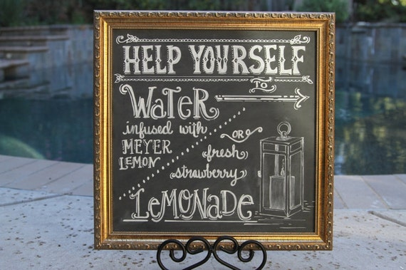 Custom 14 X 14 Chalkboard Beverage Menu With