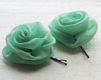 Rose bobby pins,  in mint green chiffon, set of 2 small hair flowers
