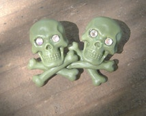 Green skull and crossbones Poison earrings posts crystal eyes
