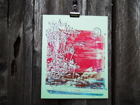 "tropical sunset cityscape monoprint - poppy red on mint ""Cliffhanger"" (8x10)"