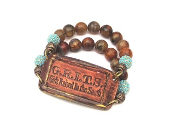 GRITS Girls Raised in the South Double Strand Bracelet brown and orange agate & turquoise pave crystal beads Southern charm saying phrase