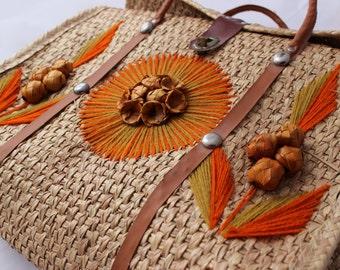 Vintage Straw Souvenir Tote Bag