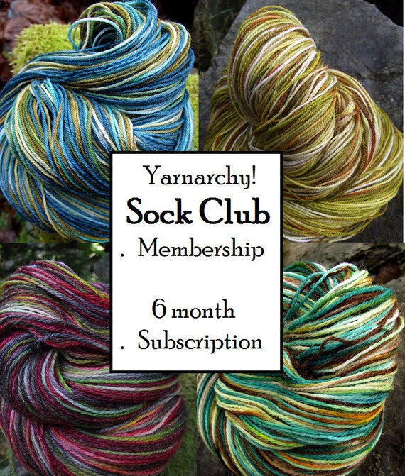 Last minute instant giftSock Yarn Club Membership, Handpainted sock yarn 6 months free shipping