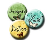 Inspiring Words with Butterflies 4 Round circle Digital Collage Sheets 12, 14 ,16, & 18mm INSTANT DOWNLOAD