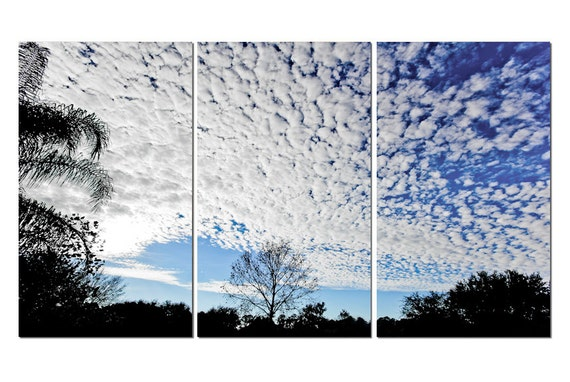Altocumulus Clouds & Blue Sky Canvas Triptych, 3 Panel Art, LARGE, Ready to Hang