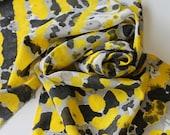 Silk Scarf - Bee Happy - Hand Painted Ladies Yellow Black Grey Gray White Bumblebee