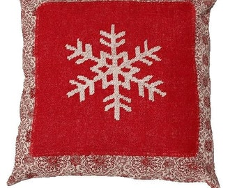 Christmas pillow SNOWFLAKE - pillow cover,scandinavian,swedish,throw pillow,burlap,red,cushion,needlepoint,cross stitch,embroidery,handmade