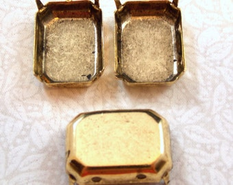 Pronged Settings, Antiqued Gold, 25X18 MM Octagonal CB, 4 Holes, no R, 4