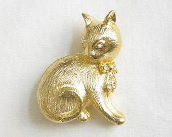 Rhinestones Kitty Cat Vintage Brooch