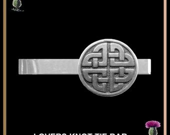 Celtic Lovers Knot Tie Bar Pewter Tie Clip CEL02
