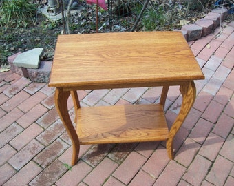 2 Oak End Table with French Curved Legs