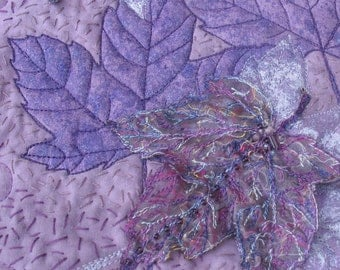 Fibre Art Leaves Wall Hanging, Free shipping in Canada