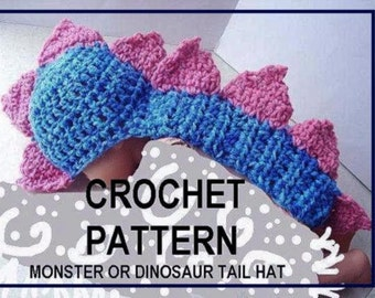 Hat Pattern, Crochet,  baby  num 379  Monster (Or dinosaur) Tail Hat   newborn to age 5  permission to sell your finished hats
