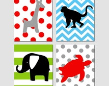 Animal Jungle Quad - Set of Four 8x10 Safari Prints - Kids Wall Art for Nursery - Giraffe, Elephant, Monkey, Turtle - CHOOSE YOUR COLORS